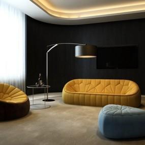 后现代布艺沙发茶几组合3D模型【ID:317505335】