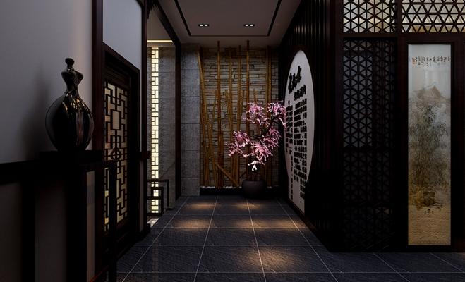 新中式原木色中餐厅3D模型【ID:317505467】