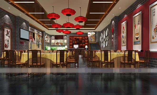 新中式中餐厅3D模型【ID:317509444】