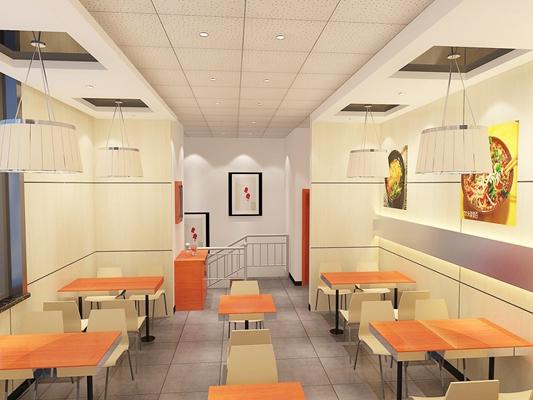 现代原木色快餐厅3D模型【ID:317509918】