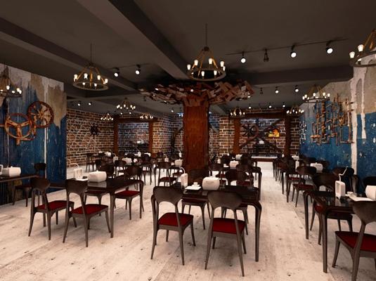 工业风快餐厅3D模型【ID:317510948】