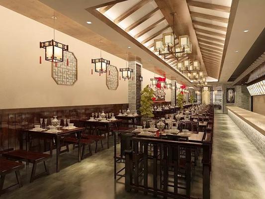 新中式中餐厅3D模型【ID:317512418】