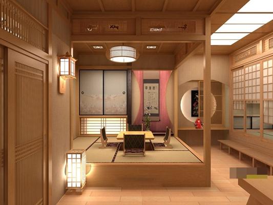 日式原木色日式餐厅3D模型【ID:317514046】