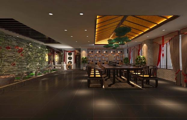 新中式中餐厅3D模型【ID:317517476】