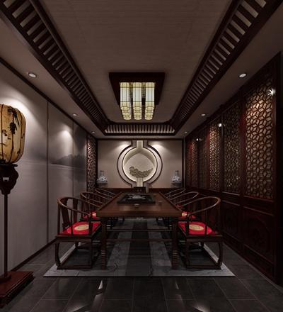 传统中式原木色茶室3D模型【ID:317517751】