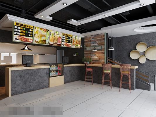 现代中餐厅3D模型【ID:317531438】