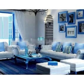 地中海白色布艺沙发茶几组合3D模型【ID:317537313】