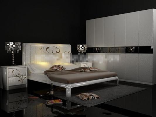 现代白色布艺床具组合3D模型【ID:317540554】