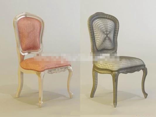 欧式新古典布艺餐椅3D模型【ID:317541076】