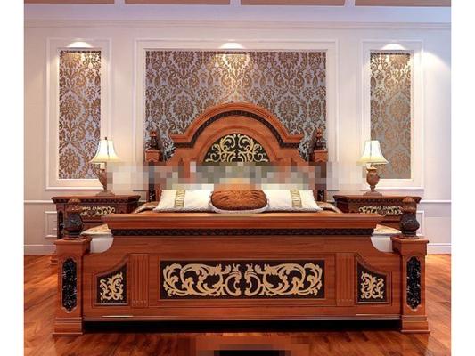 传统美式棕色木艺床具组合3D模型【ID:317544575】