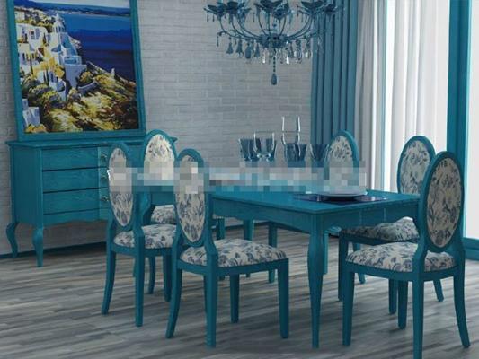地中海蓝色木艺餐桌椅组合3D模型【ID:317548452】