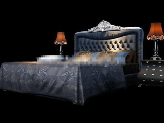 经典欧式布艺床具组合3D模型【ID:317548513】