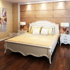 现代白色木艺床具组合3D模型【ID:317549502】