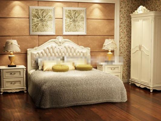 欧式简约白色木艺床具组合3D模型【ID:317549519】