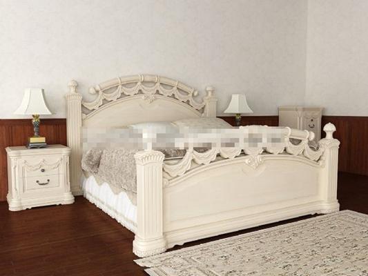 欧式古典米色木艺床具组合3D模型【ID:317550539】