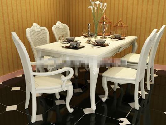 欧式简约白色木艺餐桌椅组合3D模型【ID:317552433】