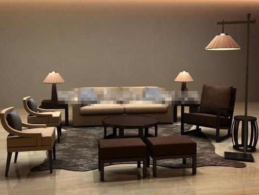 港式棕色木藝沙發茶幾組合3D模型【ID:317555335】