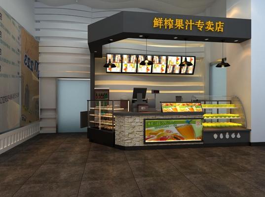 现代奶茶店3D模型【ID:317557867】
