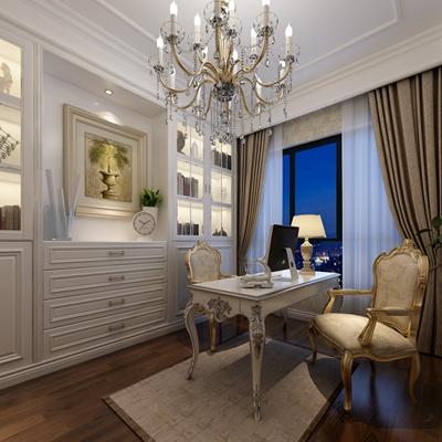 歐式簡約白色木藝書桌椅組合3D模型【ID:317564775】