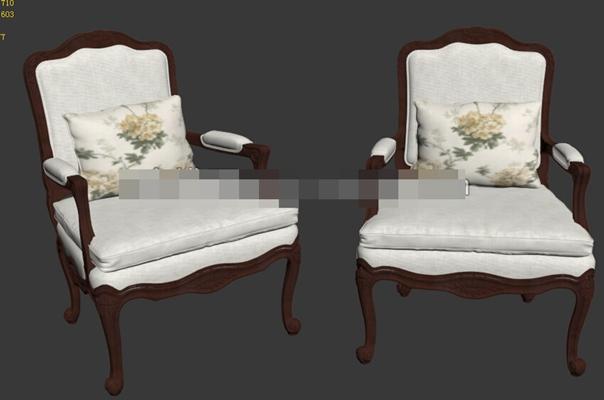 新中式木艺扶手椅3D模型【ID:317570468】