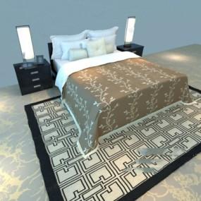 现代布艺床具组合3D模型【ID:317570523】