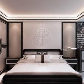 新中式白色布艺床具组合3D模型【ID:317570554】