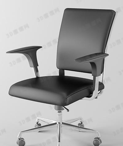现代黑色皮质扶手椅3D模型【ID:317576453】