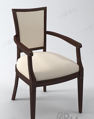 新中式棕色木艺扶手椅3D模型【ID:317582437】