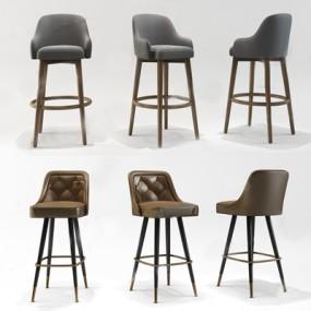 现代北欧吧椅组合3D模型【ID:327918149】