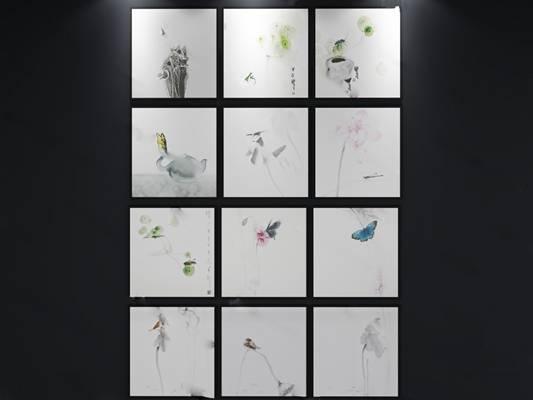 现代装饰画3D模型下载【ID:119504740】