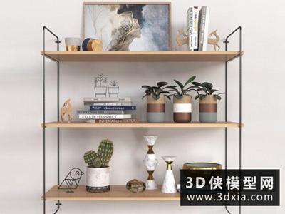 现代北欧装饰品组合国外3D模型【ID:929471852】