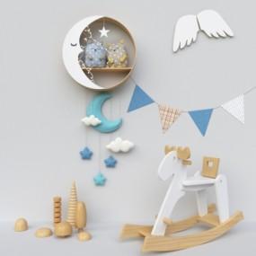 现代布娃娃儿童墙饰玩具摆件组合3D模型【ID:527802737】