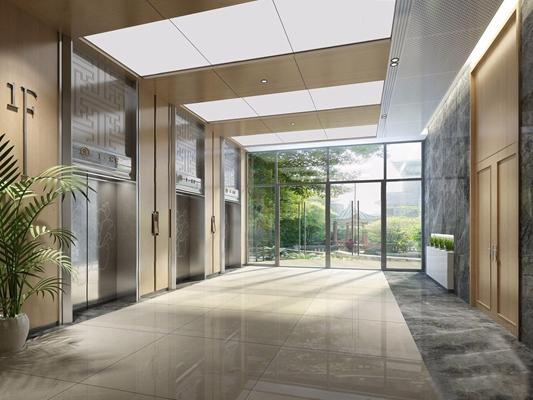 新中式電梯過道3D模型【ID:628294254】