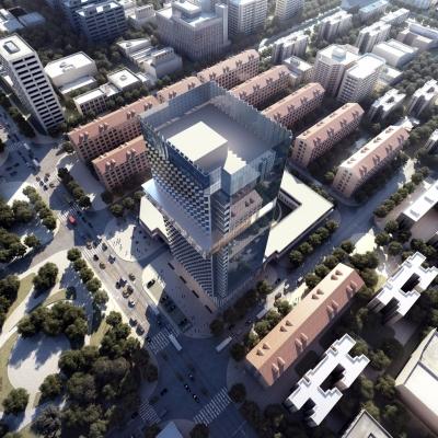 现代建筑外观鸟瞰3D模型【ID:127772497】