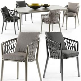 新古典戶外餐桌椅 3D模型【ID:841633806】