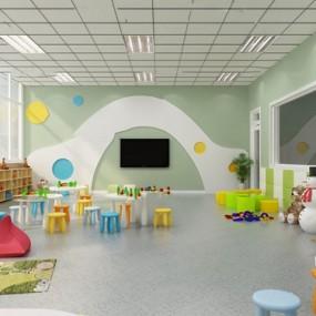 现代幼儿园教室3d模型【ID:947405613】