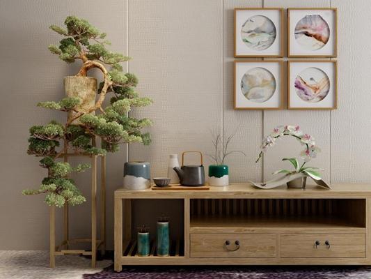 新中式盆栽电视柜组合3D模型【ID:928172029】