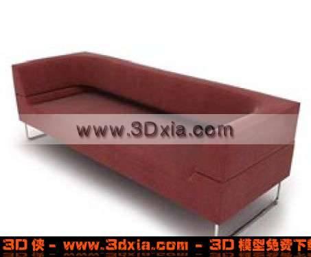 漂亮的红色布艺多人沙发3D模型【ID:3200】
