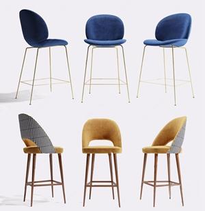 現代吧椅組合3D模型【ID:328255126】
