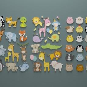 现代动物墙贴挂件组合3D模型【ID:527801761】