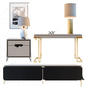 北欧电视柜床头柜书桌高柜组合3D模型【ID:928356732】
