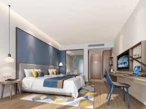 现代酒店双人房客房3D模型【ID:927819514】