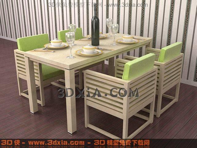 3D桌椅组合模型下载-5-使用版本3dmax83D模型【ID:32753】