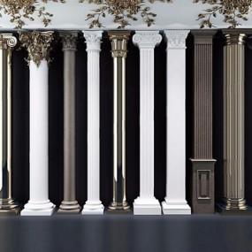 欧式罗马柱雕刻柱子石膏线雕花3D模型【ID:628295987】