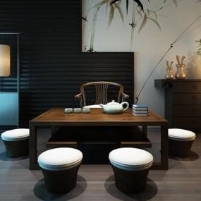 新中式茶几桌组合3D模型【ID:327900640】
