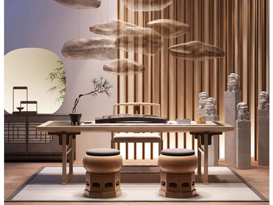 新中式書房茶室3D模型【ID:127896960】