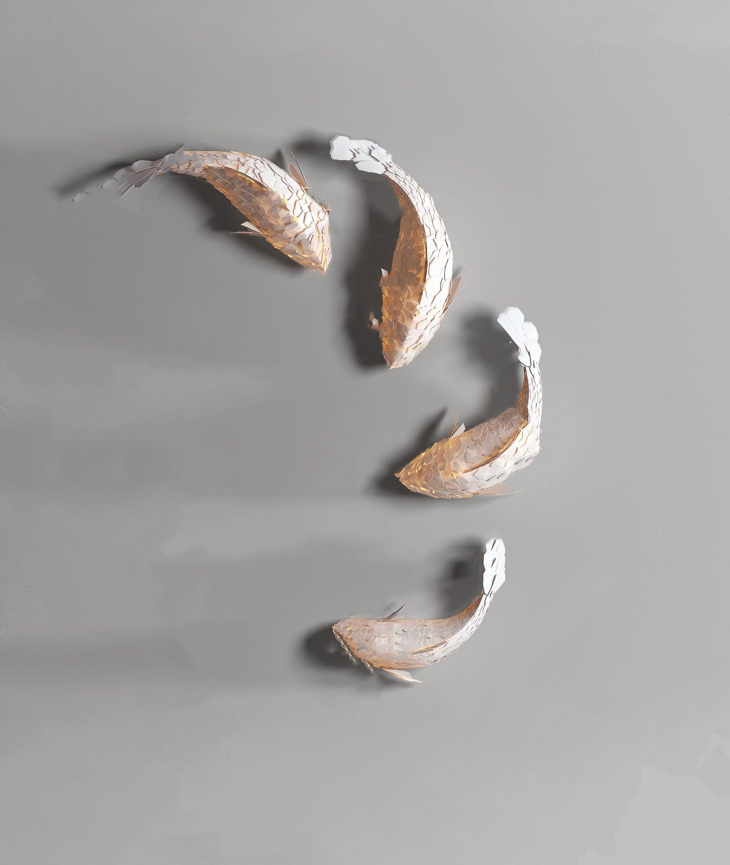 现代鱼造型装饰灯3D模型【ID:242180418】