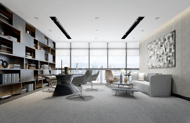 现代办公室3D模型【ID:124888224】