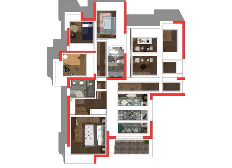 美式風格四房兩廳室內設計SU模型【ID:436362945】