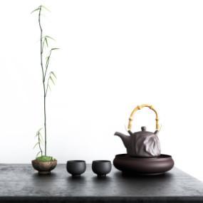 中式茶壶茶具摆件组合3D模型【ID:127752080】